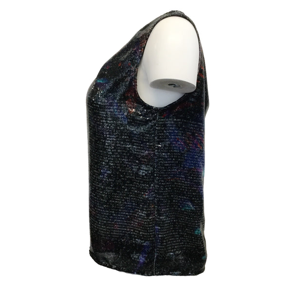 ERDEM Sleeveless Sequins Navy Multi Top
