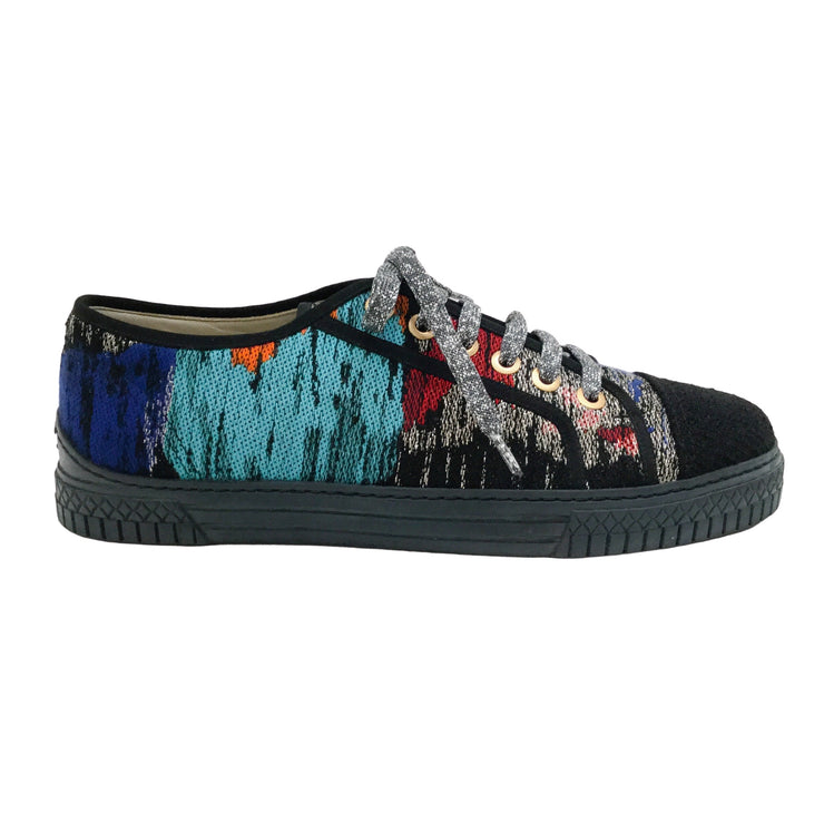 Chanel Turquoise Multi Metallic Lace Up Sneakers