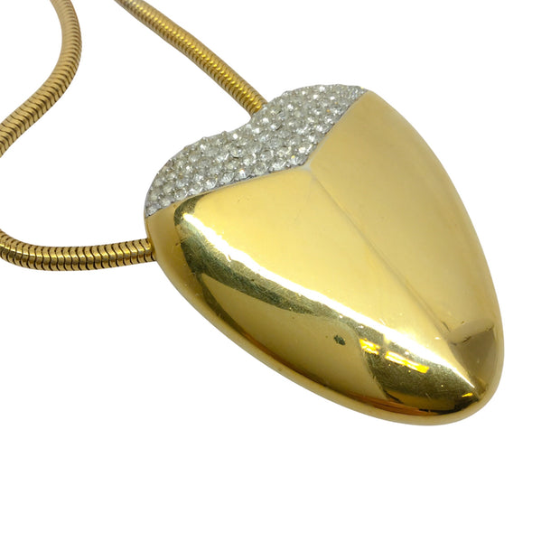 Lanvin Gold Plated Rhinestone Studded Extra Large Oblong Heart Pendant Necklace