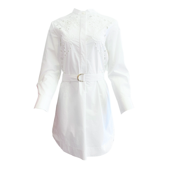 Chloé White Embroidered Belted Dress