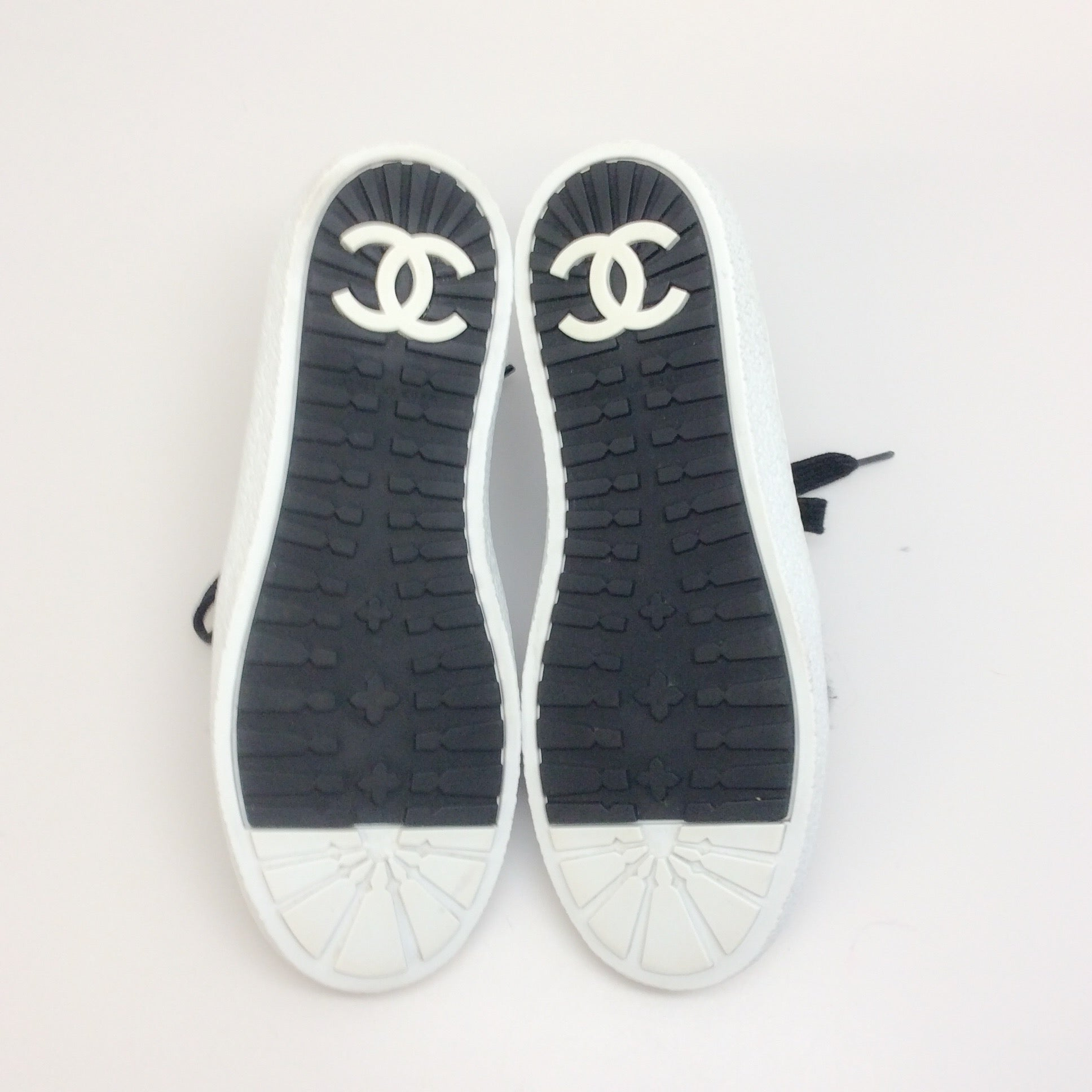 Chanel Black Tweed Boucle / Suede Sneakers