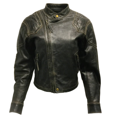 Ralph Lauren Purple Label Dark Brown Distressed Leather Moto Jacket