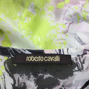 Roberto Cavalli Pink & Lime Green Abstract Print Silk Blouse Button-Down Top