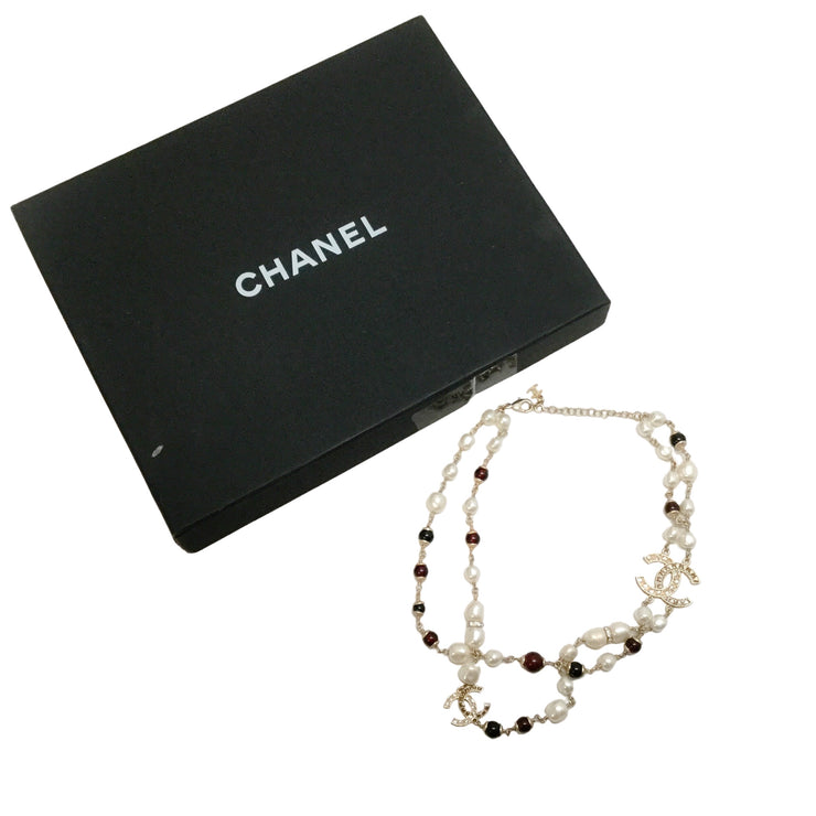 Chanel Pearl / Oxblood 2019 Crystal Logo Necklace