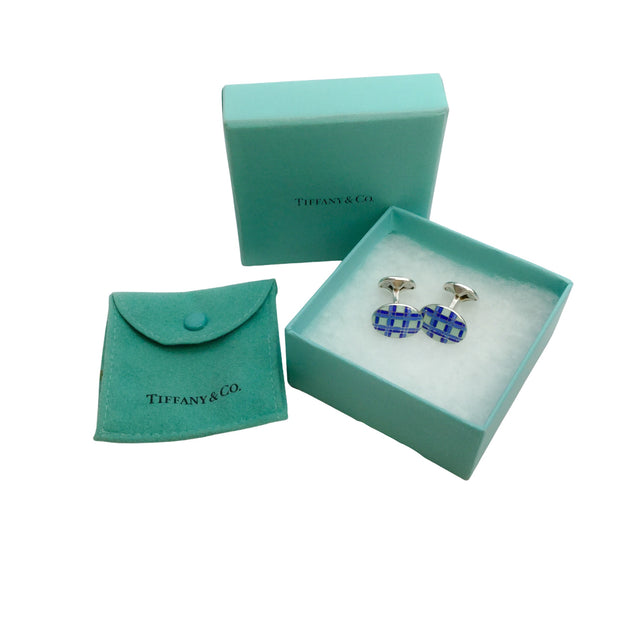 Tiffany & Co. Blue Enamel 2003 Sterling Silver Cuff Links
