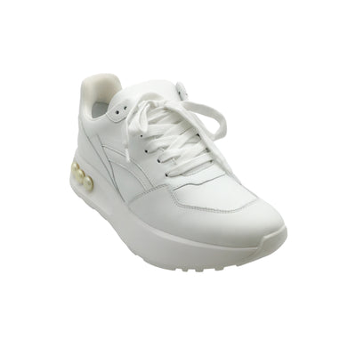 Nicholas Kirkwood White Leather Pearl-Studded Sneakers