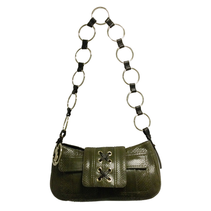 Yves Saint Laurent Rive Gauche Vintage Olive Green Snakeskin Leather Shoulder Bag