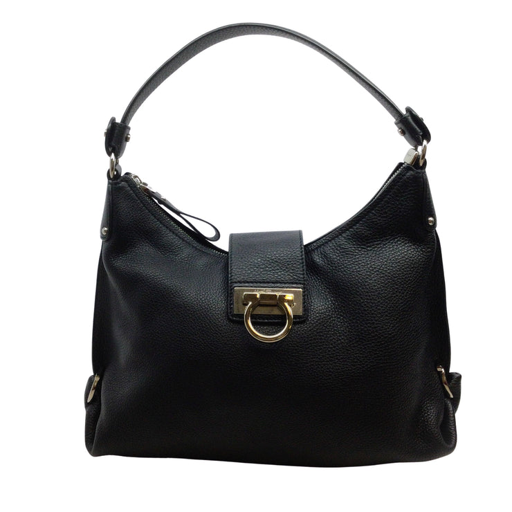 Salvatore Ferragamo Fanisa Black Leather Hobo Bag