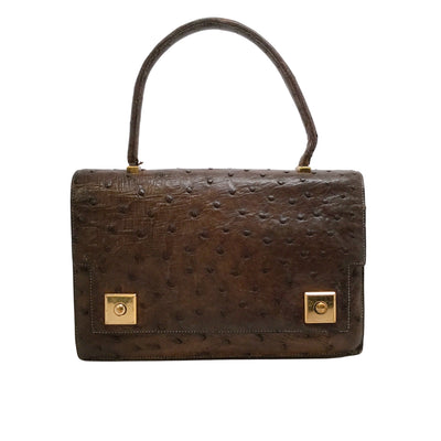 Hermès 1955 Dark Brown Ostrich Leather Satchel
