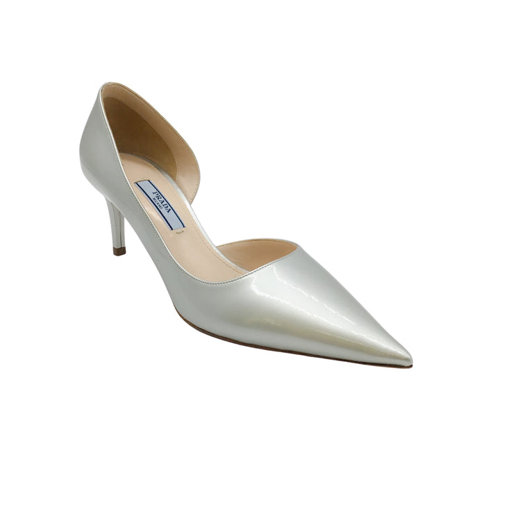 Prada Silver Metallic Patent Leather Pumps