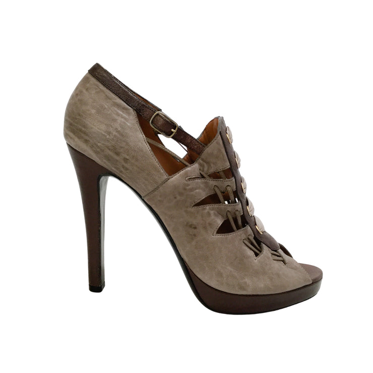 Givenchy Taupe Lace Up Platform Pumps