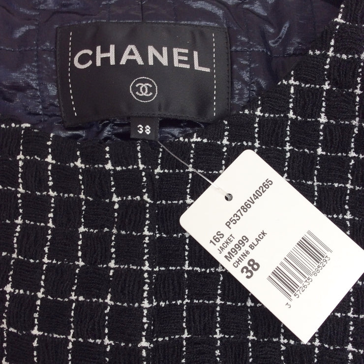 Chanel Black / White Fantasy Tweed Jacket