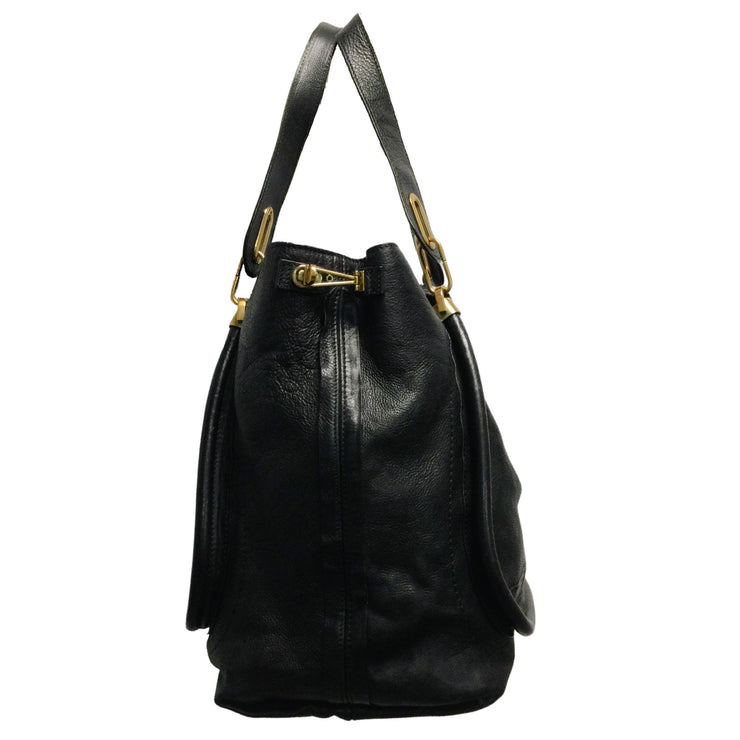 Chloé 'Paraty' Black Pebbled Leather Extra Large Tote Hobo Bag