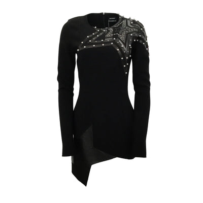 Anthony Vaccarello Black Star Studded Night Out Dress