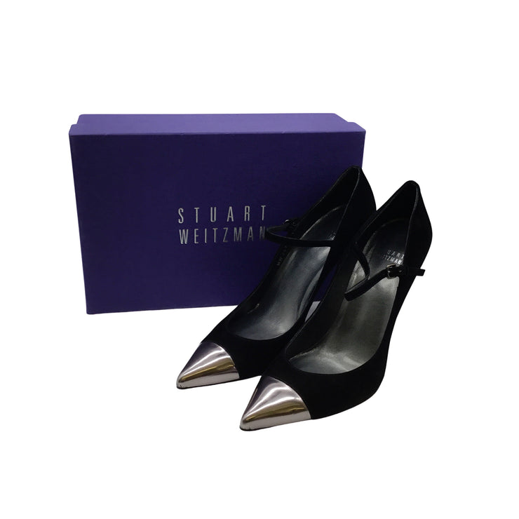 Stuart Weitzman Capsize Black Suede Mary Jane Pumps