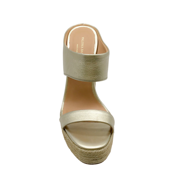 Paloma Barceló Platanillo Gold Metallic Leather Platform Wedge Sandals
