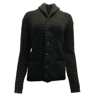 Lamberto Losani Striped Cashmere & Silk Blend Button Down Cardigan Sweater
