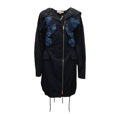 Stella McCartney Ink Blue Embroidered Flowers Anorak