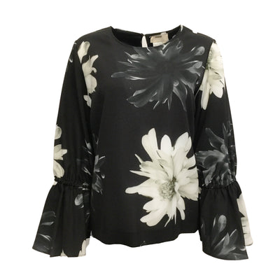 Fuzzi Black / Ivory Floral Bell Sleeve Blouse