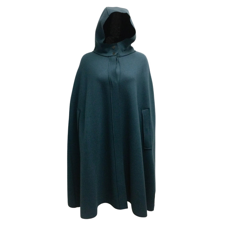 Lamberto Losani Teal Blue Hooded Cashmere Poncho Cape
