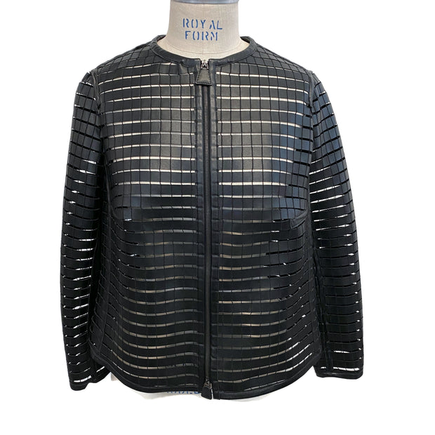 Akris Black Cut Out Leather Jacket