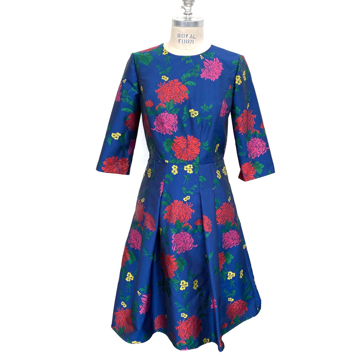 Carolina Herrera Navy Multi Floral 3/4 Sleeve A Line Cocktail Dress