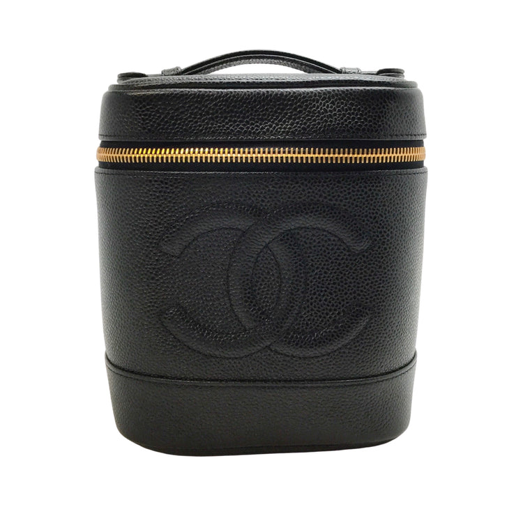 Chanel Black Vanity Case 2001A Leather Cosmetic Bag