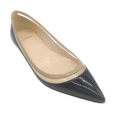 Christian Louboutin Black Patent Leather Pointed Toe Flats
