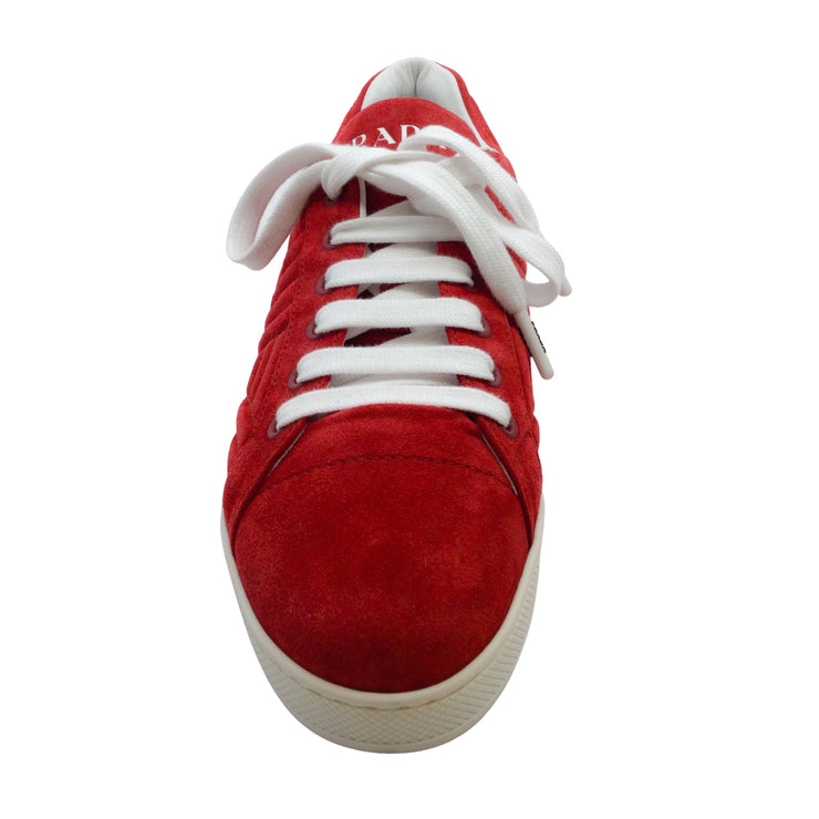 Prada Red Quilted Suede Sneakers