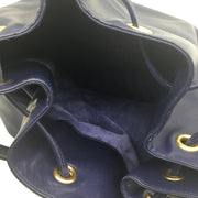 Saint Laurent Navy Blue Leather Crossbody Bucket Bag