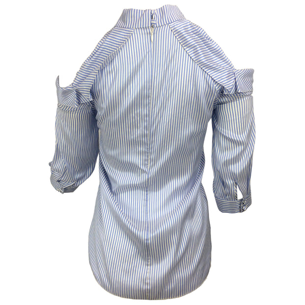 ERDEM Blue & White Elin Striped Silk Blouse