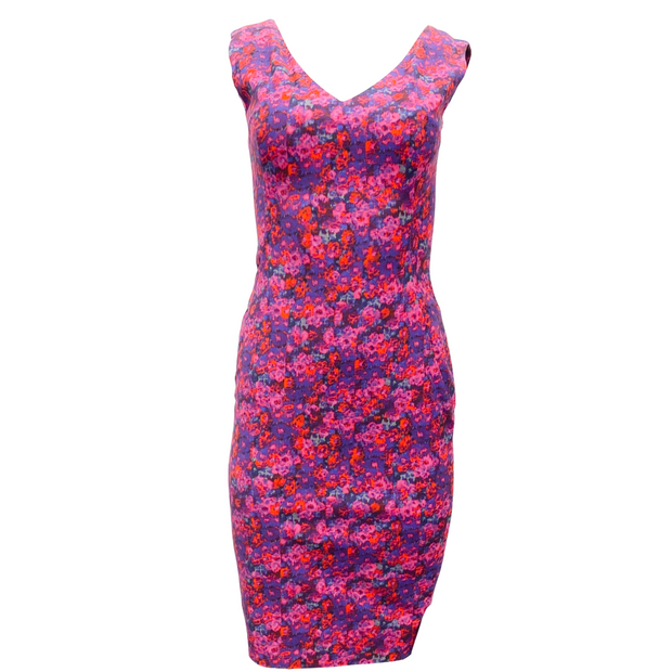 ERDEM Magenta Multi Floral Print Short Casual Dress
