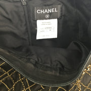 Chanel Gold Chain Black Lambskin Leather Skirt