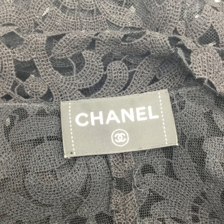Chanel Black Crocheted Floral Lace Blouse