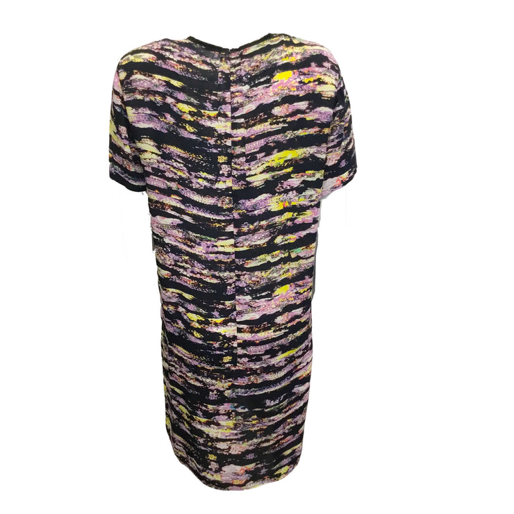 Cedric Charlier Black Abstract Print Multicolored Rayon Dress