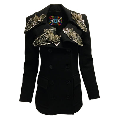 Libertine Black Safety Pin Embellished Double Breasted Wool Blazer