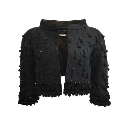Balmain Black Vintage Beaded Crop Blazer