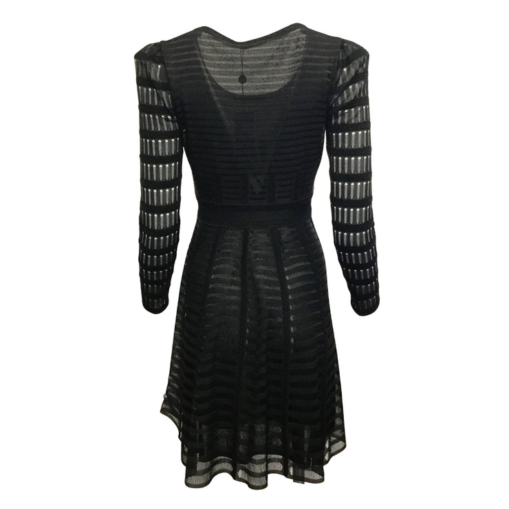 Alexander McQueen Black Sheer Skater Dress