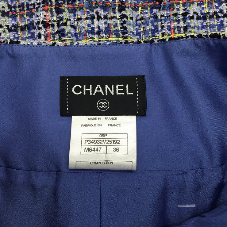 Chanel Powder Blue Multicolored Woven Tweed Knee-Length Skirt