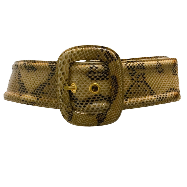 Michael Kors Tan & Brown Python Wide Leather Belt