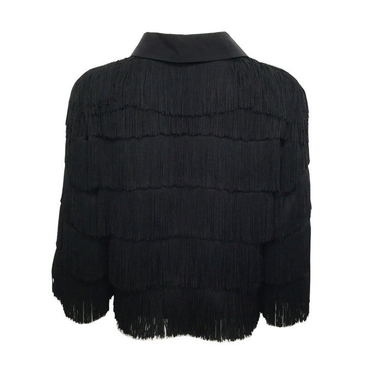 Stella McCartney Black 3/4 Sleeve Fringe Blouse