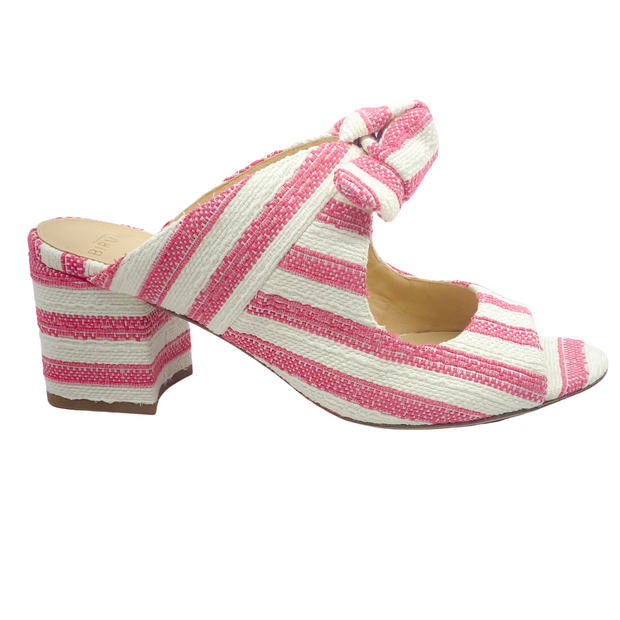 Alexandre Birman Pink and White Stripe Clarita Block Heel Mules/Slides