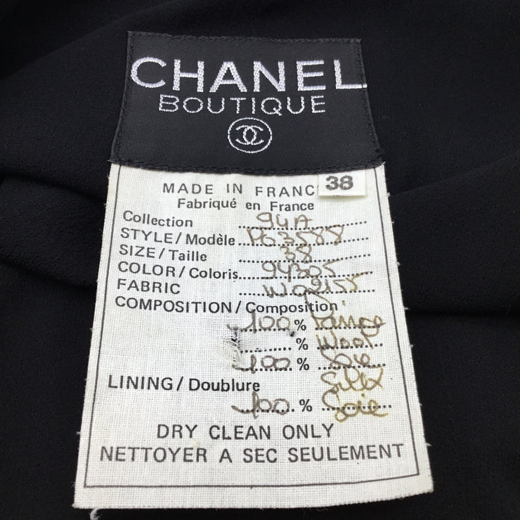 Chanel Vintage Black Wool & Silk Chiffon Jacket & Dress Set