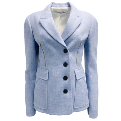 Dior Chambray and Gold Zipper Blazer