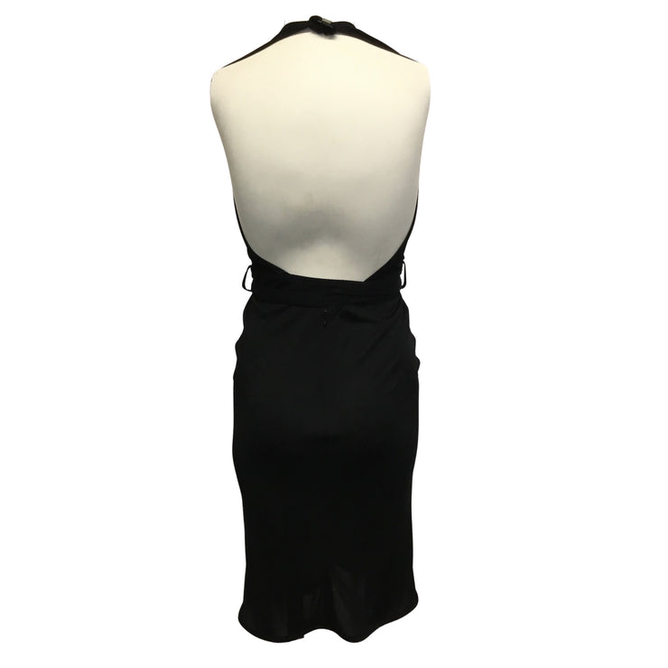 Hermès Vintage Black Halter Dress and Sheer Vest Two Piece Set