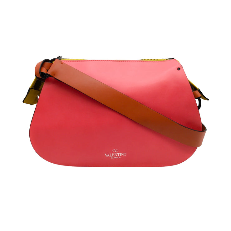 Valentino Coral, Green & Yellow Leather Shoulder Bag
