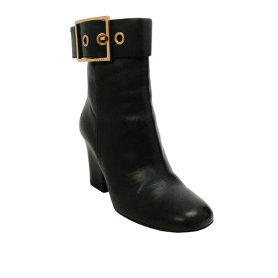 Gucci Black Leather Gold Buckle Boots/Booties