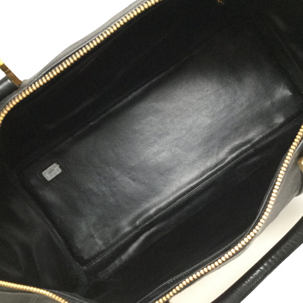 Chanel Boston Bag Quilted Black Leather Satchel