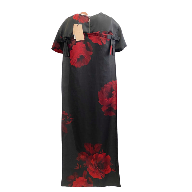 N°21 Black / Red Silk Short Sleeve Cocktail Dress