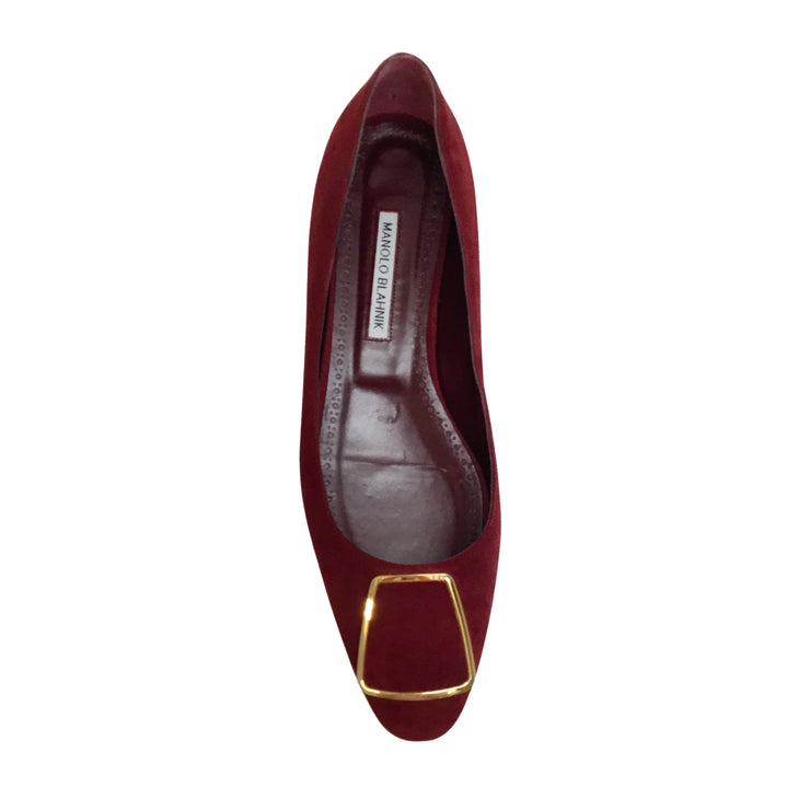 Manolo Blahnik Burgundy Suede with Gold Detail Flats